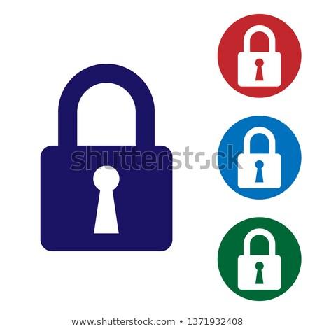 Lock Safety Sign, padlock icon set in circle. Vector illustration isolated on white background. Stock photo © kyryloff