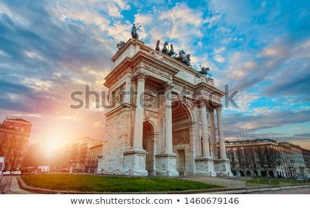 Stockfoto: Arch Of Triumph Arco Della Pace At Park Sempione In Milan Ita