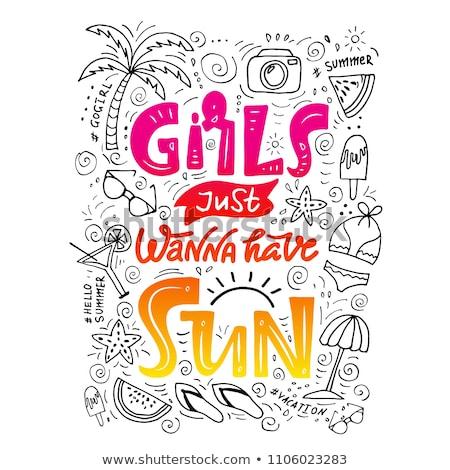 Vektor nyár idő illusztráció tipográfia levél Stock fotó © articular