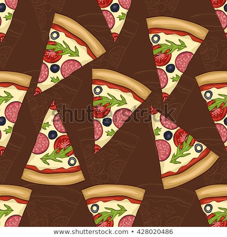 Végtelen minta kettő pizza szalámi eps 10 Stock fotó © netkov1