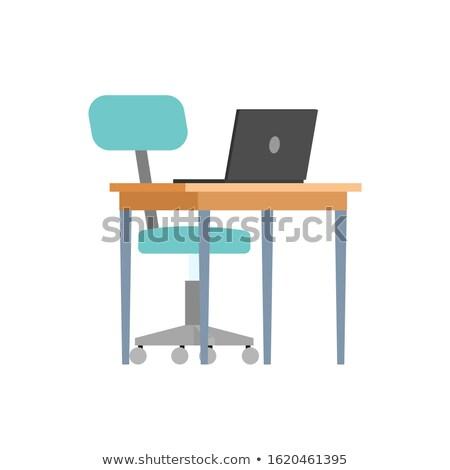 Tavola sedia portatile computer isolato icone Foto d'archivio © robuart