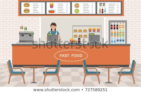Stockfoto: Fastfood · restaurant · tabel · hamburger · drinken · vector · soda