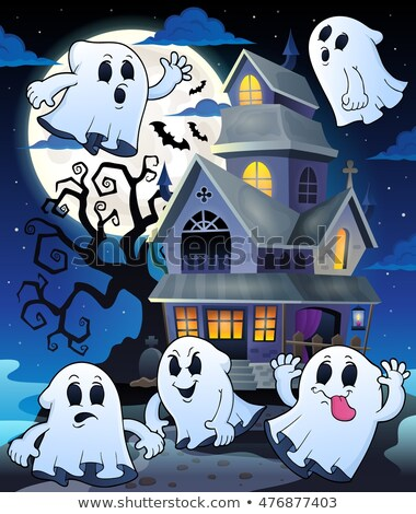 Halloween ghost near haunted house 5 Stock photo © clairev