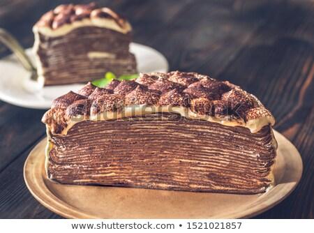 Seção transversal tiramisu crepe bolo comida Foto stock © Alex9500