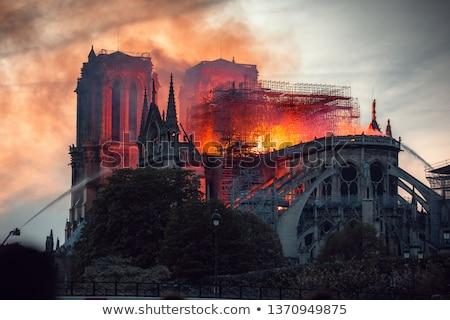 tűz · Notre · Dame-katedrális · Párizs · Franciaország · égbolt · felhők - stock fotó © vapi