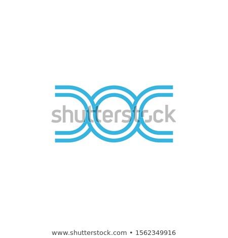 Linear Horizontal DNA biotechnology molecule atom chip logo design template. Medicine or science tec Stock photo © kyryloff