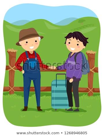 Stickman Teen Guy Farm Volunteer Tourist Stock photo © lenm
