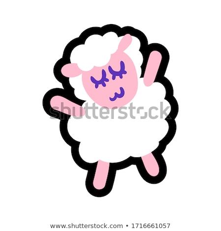 Sheep stitched frame illustration Stock photo © barsrsind