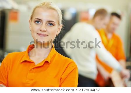 Sprzedaży asystent portret domu urządzenie sklep Zdjęcia stock © Lopolo