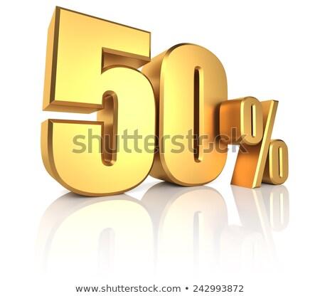 Fünfzig Prozent weiß isoliert 3D-Darstellung Geld Stock foto © ISerg