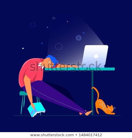tired or bored man on table at night office Stock photo © dolgachov