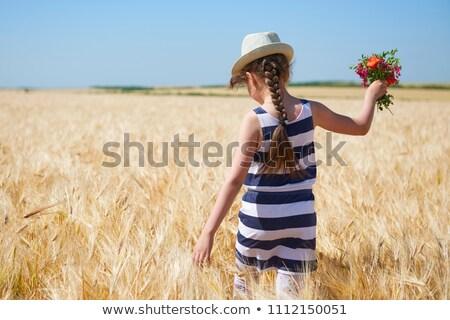 Menina agrícola campo trigo grama criança Foto stock © ElenaBatkova