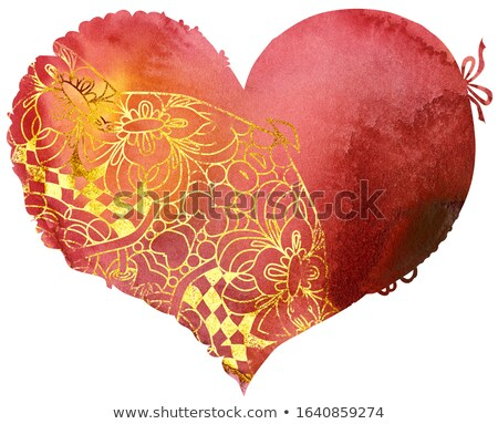 Stock photo: watercolor red heart with a lace edge with gold pattern