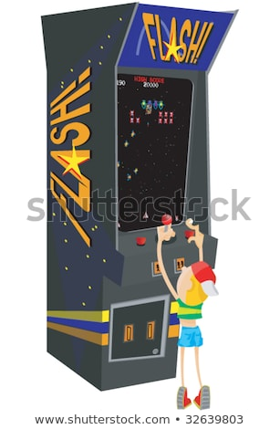 Guy Playing Vintage Arcade Game Machine Vector Stock photo © robuart