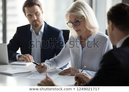 Koncentrált érett idős üzletember fotó elégedett Stock fotó © deandrobot