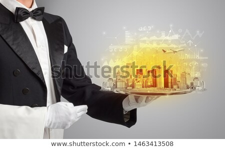 Pincér adag nagy város tálca jelentés Stock fotó © ra2studio