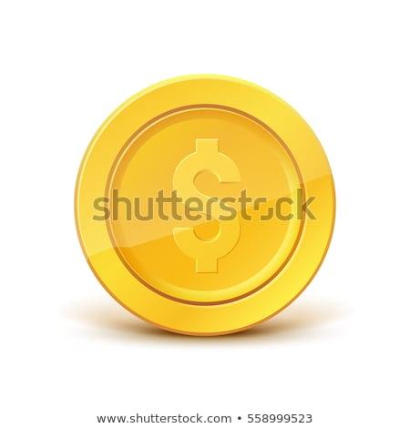 Parlak parlak altın sikke dolar işareti beyaz Stok fotoğraf © evgeny89