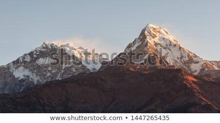 Himalayas summits in clouds on sunset Stock photo © dmitry_rukhlenko