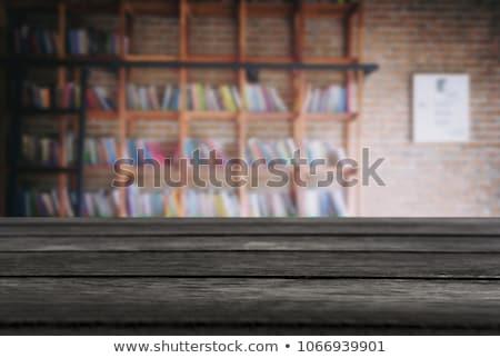 Kiválasztott fókusz üres fekete fa asztal könyvtár Stock fotó © Freedomz