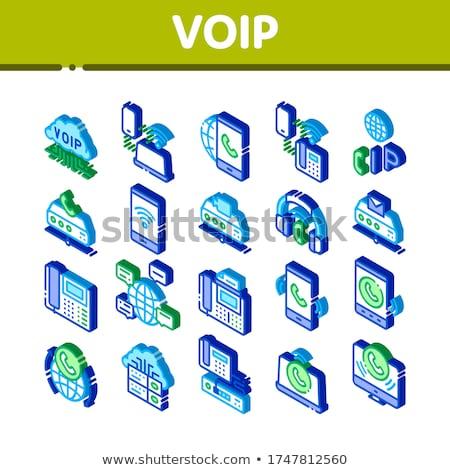 Voip roepen isometrische vector collectie Stockfoto © pikepicture