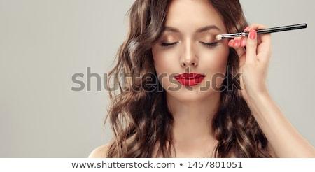 Stok fotoğraf: Makyaj · genç · kadın · ağız · kadın · göz · boya