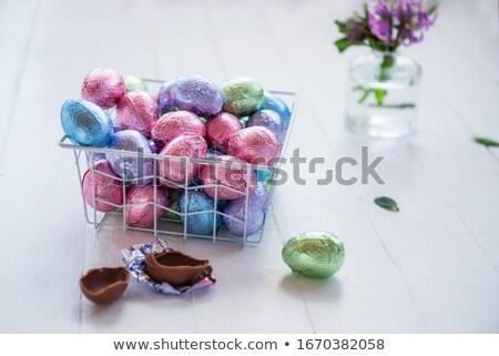 корзины шоколадом яйца изолированный белый Пасху Сток-фото © premiere