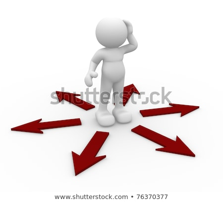 3d people icon surrounded by directional signs, this is a 3d ren Stock photo © dacasdo