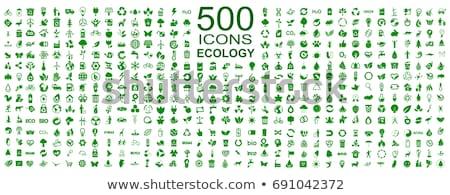 Foto stock: Ecologia · ícones · colorido · conjunto · verde · branco