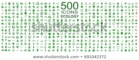 ecologia · ícones · colorido · conjunto · verde · branco - foto stock © pkdinkar