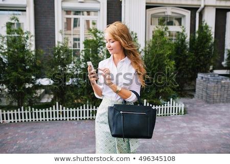 美 女性 白 シャツ 青 スカート ストックフォト © zybr78