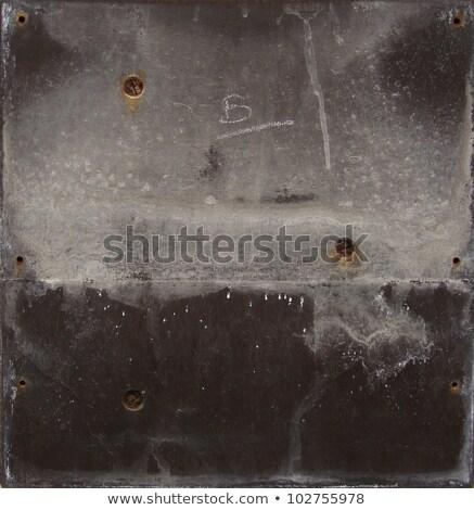 Stock fotó: Grunge Gray Black Metal Plate With Screws And Leak