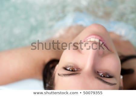 Jovem bela mulher jacuzzi champanhe feliz Foto stock © grafvision