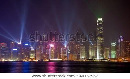 Hong Kong International Finance Center With Laser Stock photo © leungchopan
