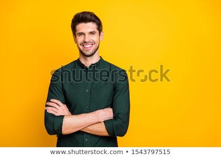 Portre gülen mutlu adam silah katlanmış Stok fotoğraf © scheriton