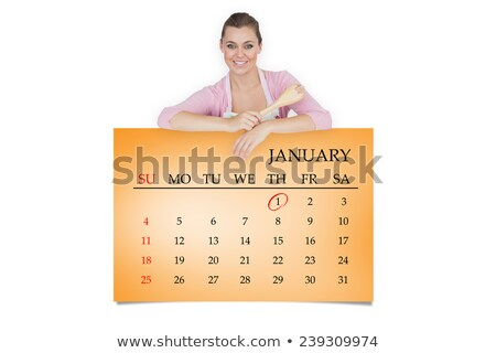 メイド スプーン 看板 肖像 幸せ ストックフォト © wavebreak_media