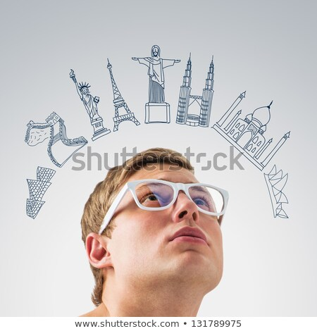 Young handsome man dreaming about his vacation. Famous touristic Stock photo © HASLOO