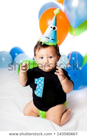 Egyéves imádnivaló spanyol fiú portré száj Stock fotó © dacasdo