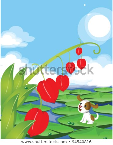 Dog sitting on lotus leaf looking at chinese lantern lily Stock photo © zzve
