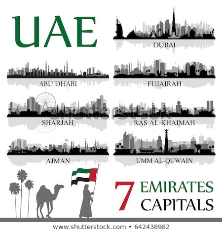 Stock fotó: Dubai · városkép · sziluett · vektor · illusztráció · égbolt