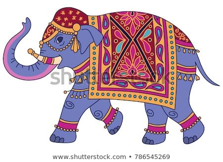 Indiai elefánt illusztráció utazás jóga táska Stock fotó © vectorpro