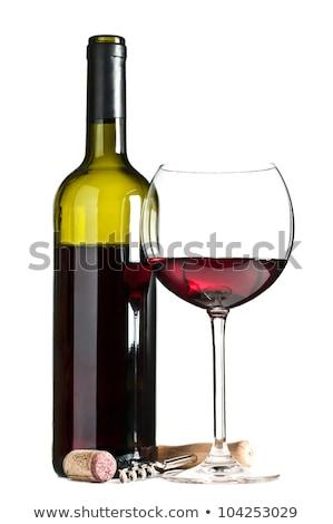 Vino tinto botella vidrio sacacorchos aislado blanco Foto stock © karandaev