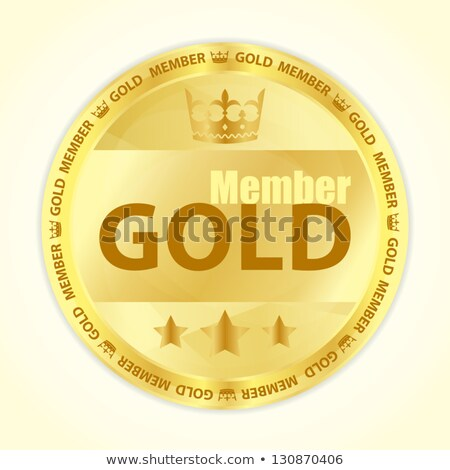 Gold member badge with royal crown and three golden stars Stock photo © liliwhite