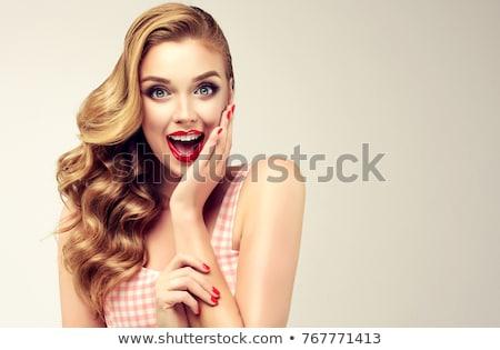 megrémült · szőke · nő · vicces · arc · szürke · lány - stock fotó © dash