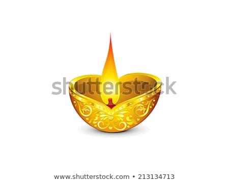 abstract artistic diwali golden deepak Stock photo © pathakdesigner