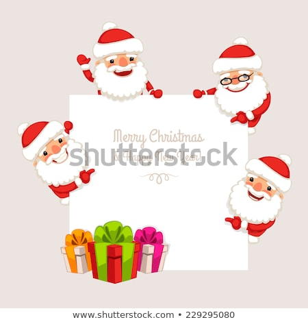 Set of Cartoon Santa Clauses Behind a White Empty Board Stock photo © Voysla