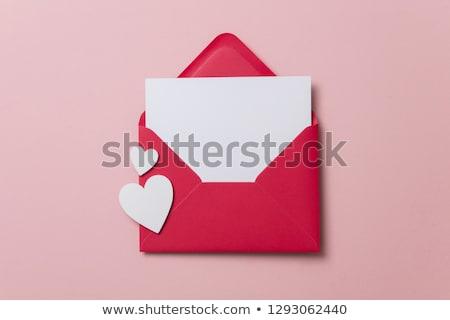 coração · vermelho · caneta · folha · papel · branco - foto stock © alexmillos