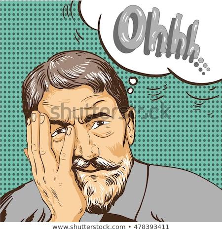 Сток-фото: Cartoon · испуганный · старик · мысли · пузырь · стороны · человека
