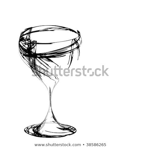 стилизованный рюмку вина вино ресторан знак Сток-фото © H2O