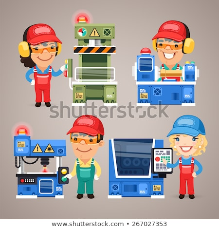 Set of Cartoon Workers Working on the Factory Machines Stock photo © Voysla