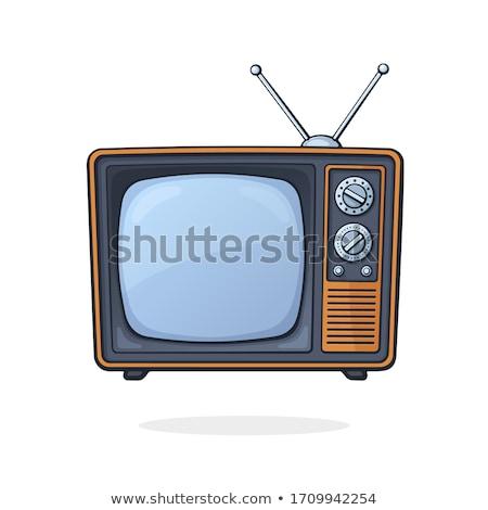 スタイリッシュ · ベクトル · テレビ · 赤 · レトロな · 白 - ストックフォト © ava